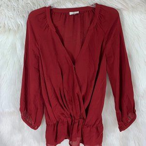 Joie Crimson Ruby Red Blouse SIze Small Low cut